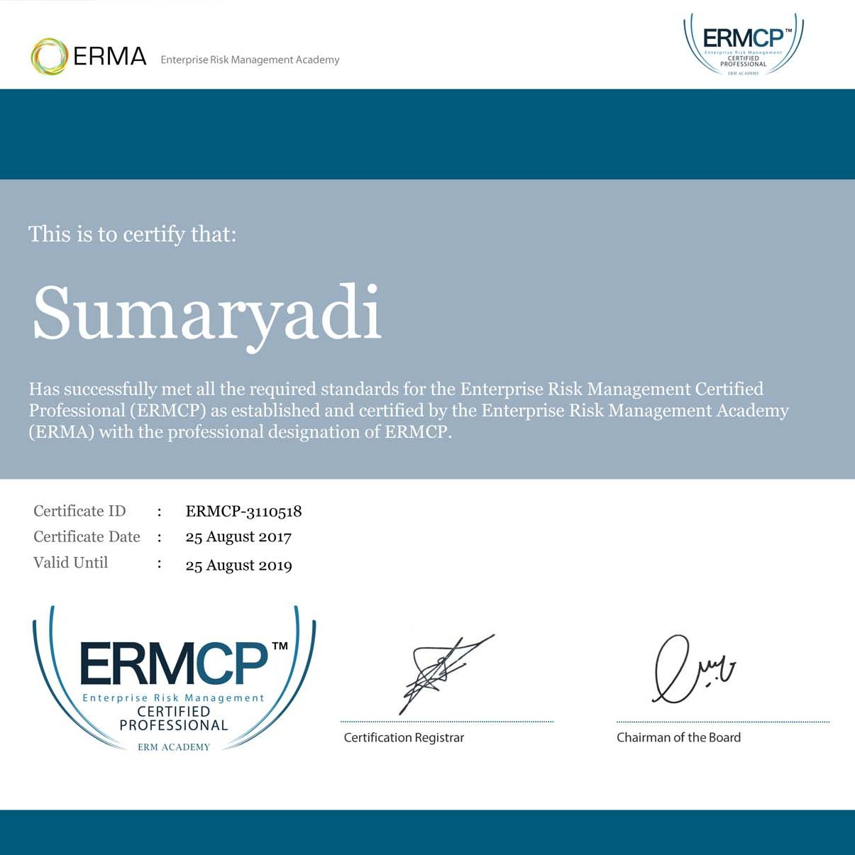 Certificate of ERMCP