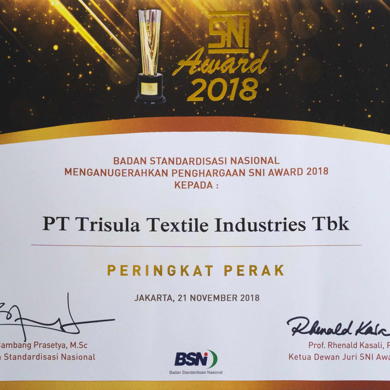 Sertifikat SNI Award 2018
