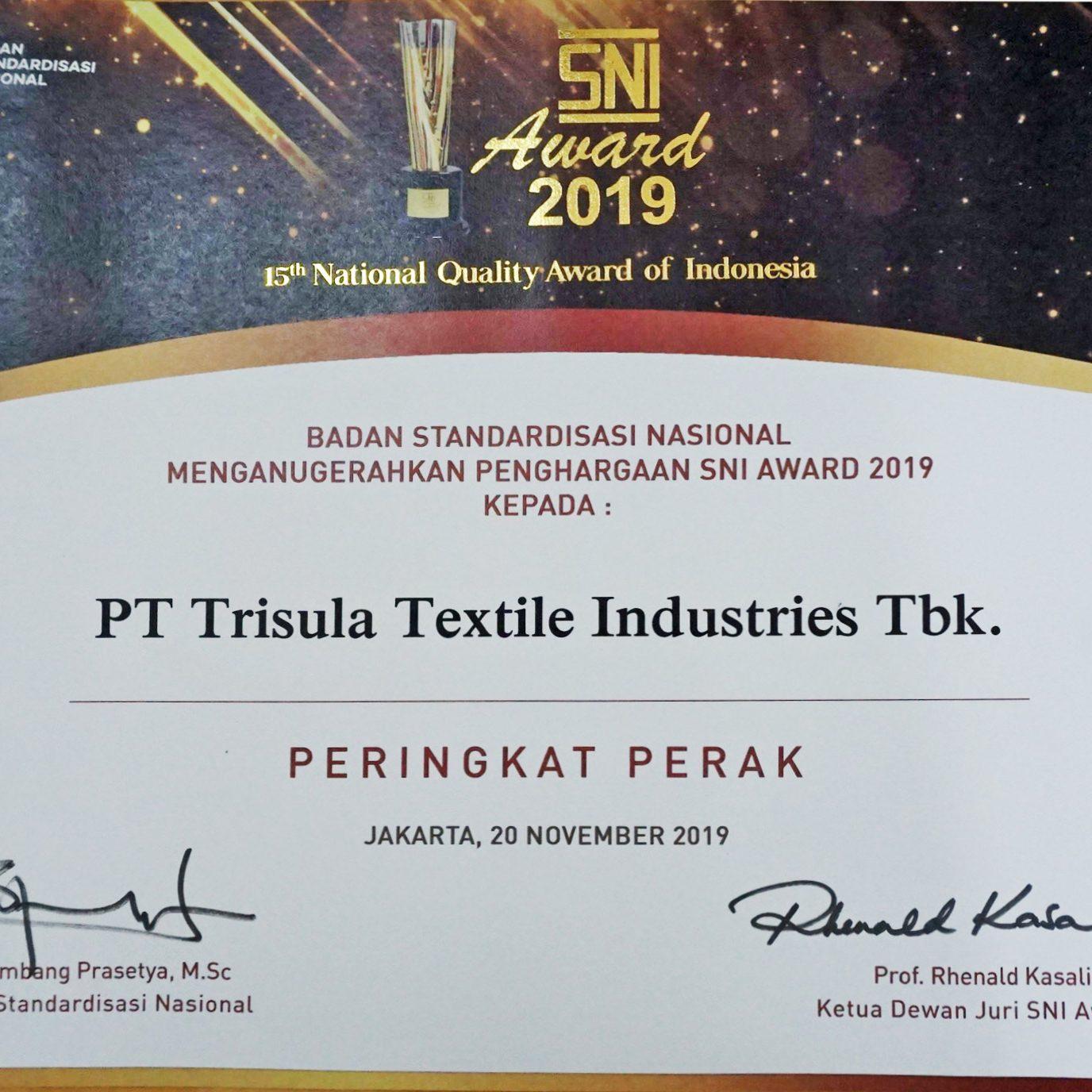 sertifikat SNI Award 2019