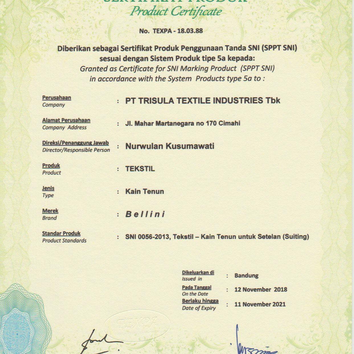 Sertifikat 0056 - 2013 Produk Bellini
