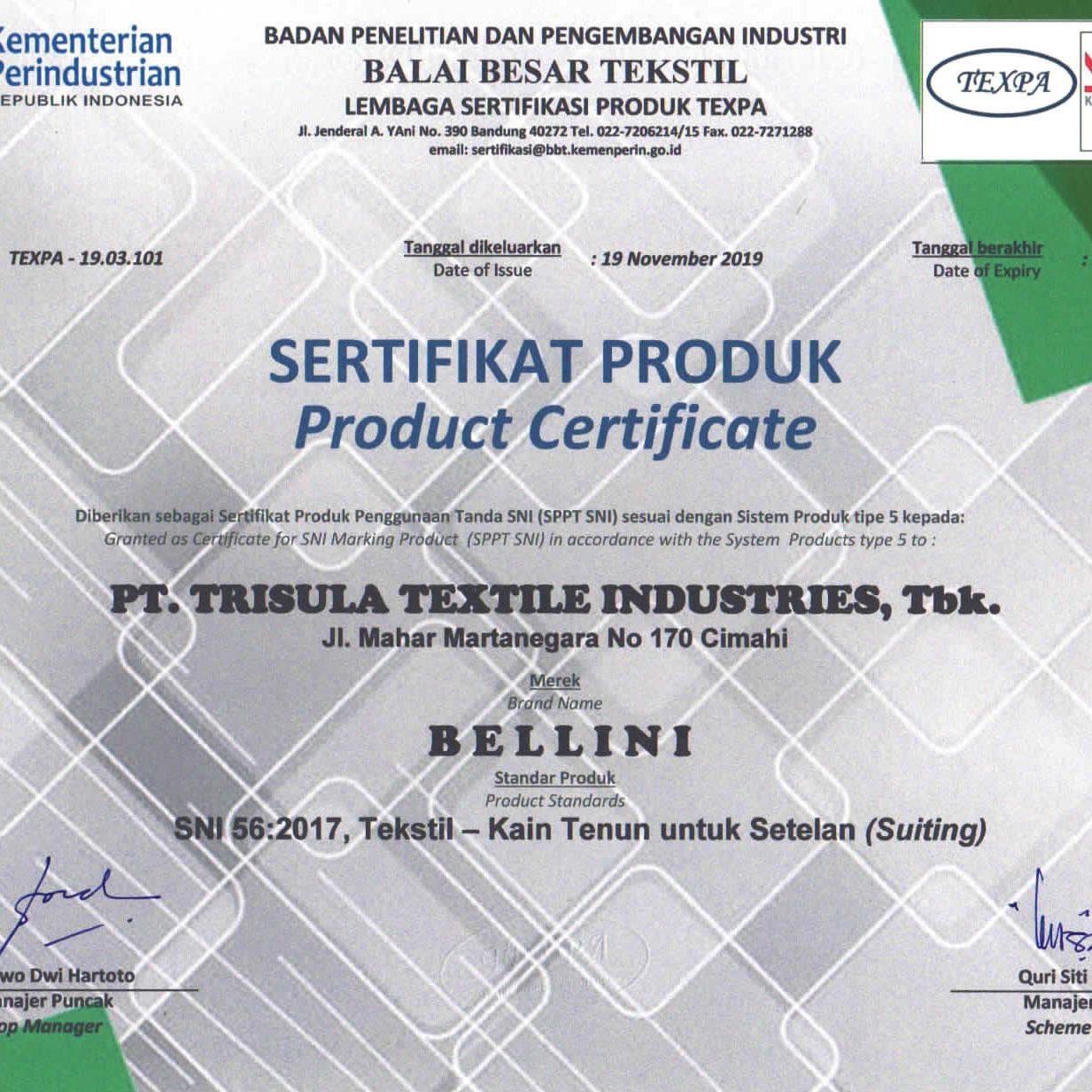 Sertifikat 56 - 2017 Produk Bellini
