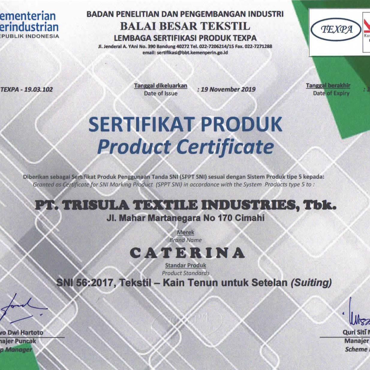 Sertifikat 56 - 2017 Produk Caterina 2022