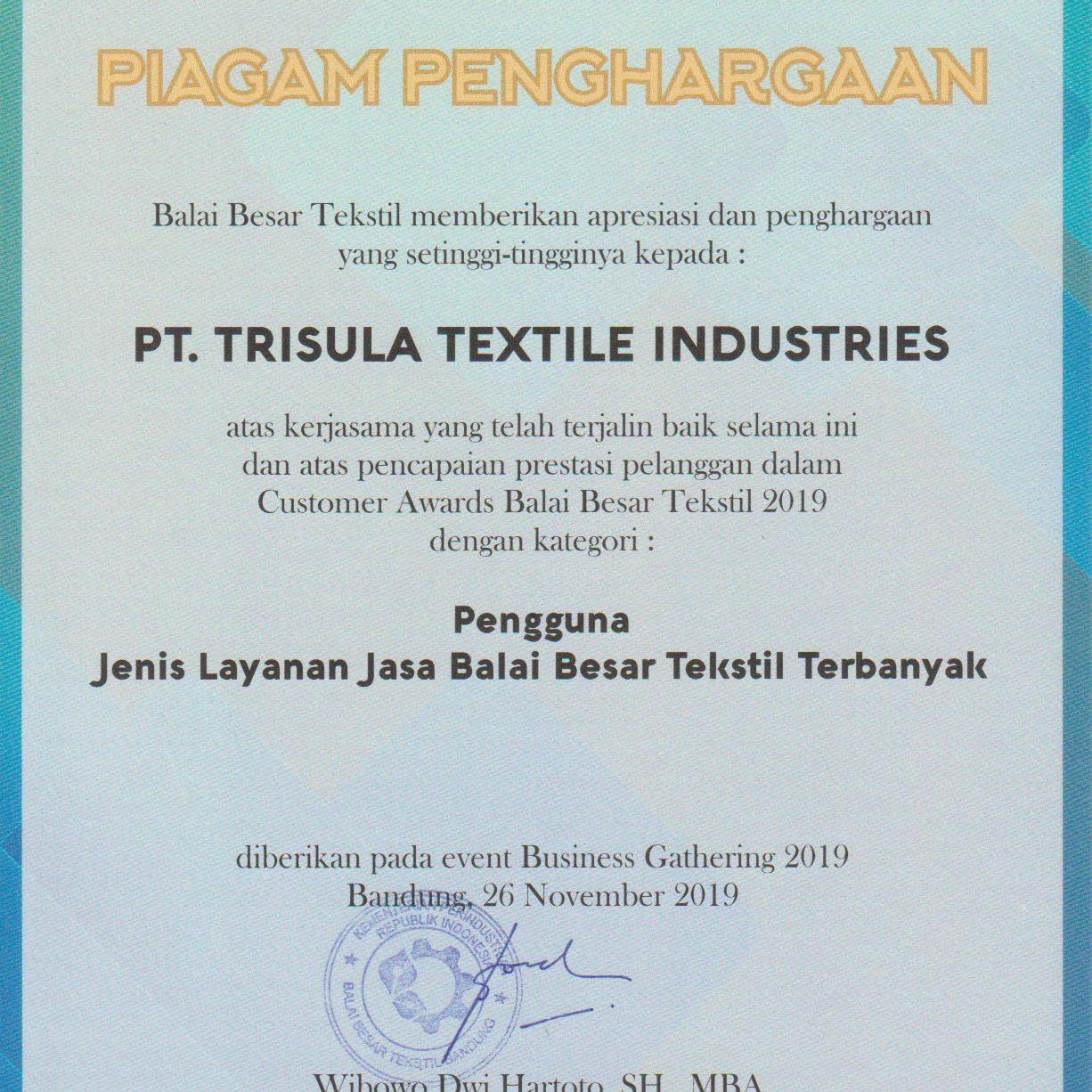 Sertifikat Pengguna Jasa Balai Besar Tekstil Terbanyak 2019