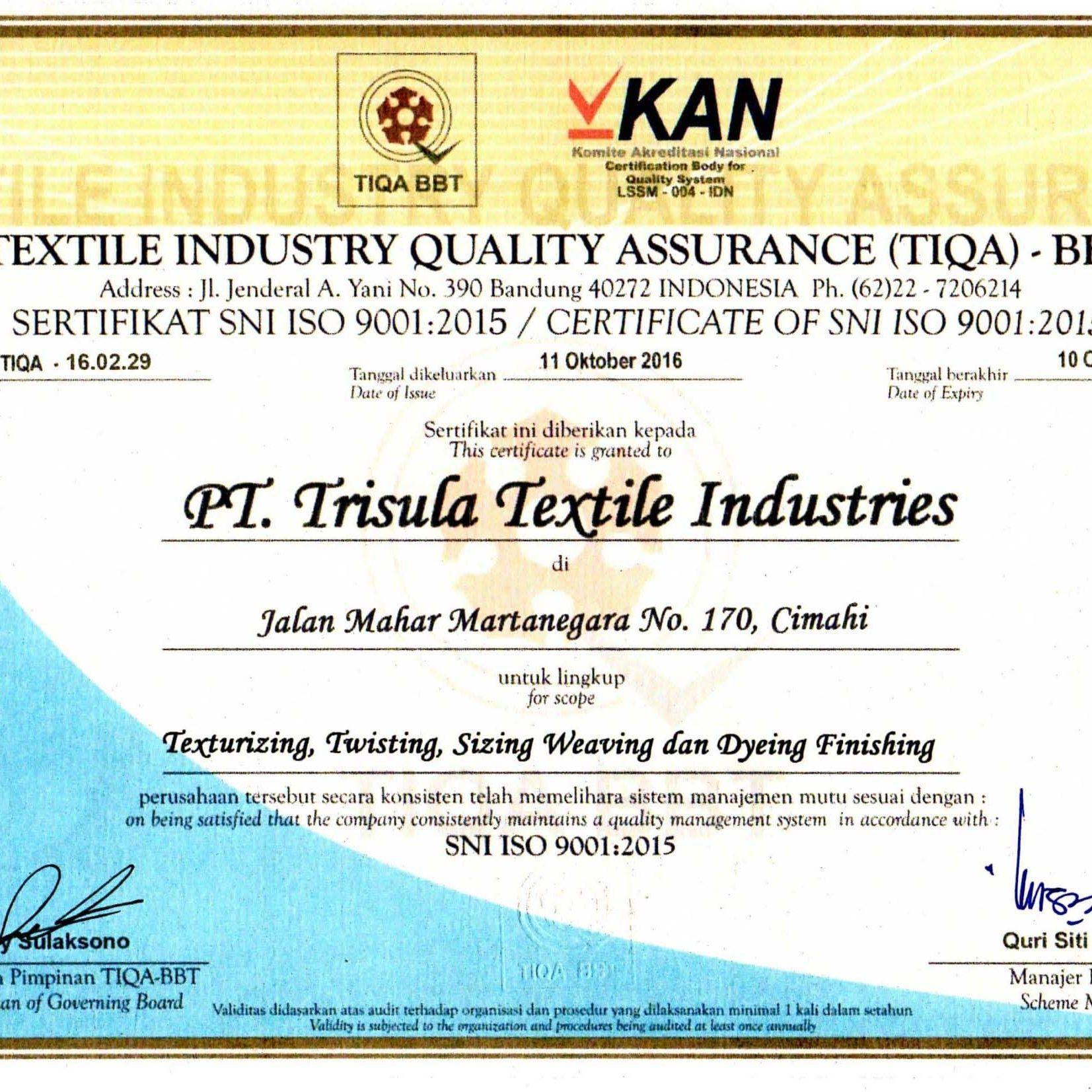 Sertifikat SNI ISO 9001 ; 2015_2019
