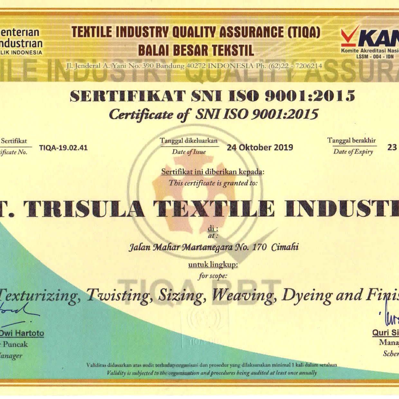 Sertifikat SNI ISO 9001 ; 2015_2022